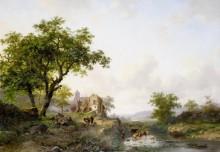 Пейзаж со стадом у реки - Круземан, Фредерик Маринус