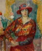 Женщина в красной блузе с букетом тюльпанов - Глакенс, Уильям