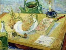 Натюрморт: чертежная доска, трубка, лук и сургуч (Still Life - Drawing Board, Pipe, Onions and Sealing Wax), 1889 - Гог, Винсент ван