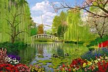 Пейзаж с озером и ветряной мельницей