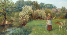 Пейзаж с дояркой - Хьюз, Артур