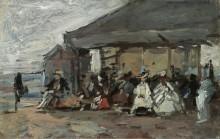 На пляже, 1888-95 - Буден, Эжен