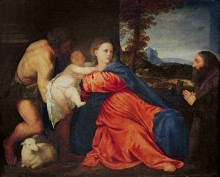Мадонна с Младенцем, святым Иоанном Крестителем и донатором - Тициан Вечеллио