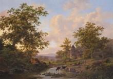 Пейзаж с пастухами, отдыхающими у реки - Круземан, Фредерик Маринус