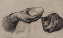 Рука с миской и кошка (Hand with a Bowl, and a Cat), 1885 - Гог, Винсент ван
