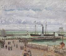 Вход в порт Гавра, вид на западный Волнорез, пасмурная погода, 1903 - Писсарро, Камиль