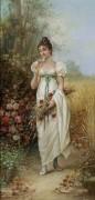 Девушка с полевыми цветами и розами - Зацка, Ханс