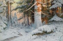 Зимний лесной пейзаж в солнечном свете - Морас, Вальтер