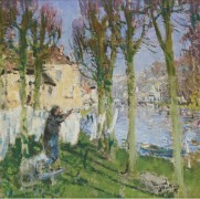 Прачка, развешивающая белье (Laundress Hanging Washing) - Монтезин, Пьер Эжен