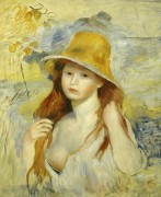Девушка в соломенной шляпе - Ренуар, Пьер Огюст