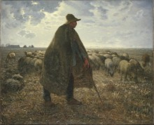 Пастух с отарой овец - Милле, Жан-Франсуа