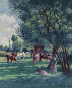 Бесси-сюр-Кюр, крестьяне со стадом коров, 1906 - Люс, Максимильен