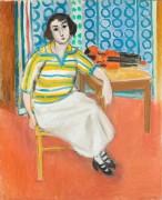 Женщина в полосатом пуловере и скрипка на столе - Матисс, Анри
