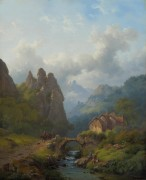 Горный пейзаж с путешественниками - Круземан, Фредерик Маринус