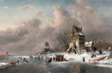 Зимний пейзаж с замерзшим каналом - Лейкерт, Шарль