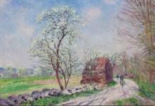 Дорога вдоль леса, весна - Сислей, Альфред
