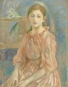 Дочь художницы с попугаем - Моризо, Берта