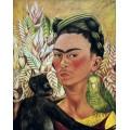 Автопортрет с обезьянкой и попугаем - Кало, Фрида