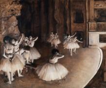 Репетиция балета на сцене - Дега, Эдгар