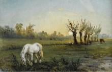 Белая лошадь на лугу, 1856 - Писсарро, Камиль