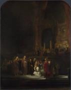 Женщину, обвиненная  в прелюбодеянии - Рембрандт, Харменс ван Рейн