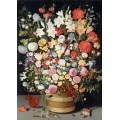 Большой букет из весенних и летних цветов в деревянном горшке и белка - Брейгель, Ян (младший)