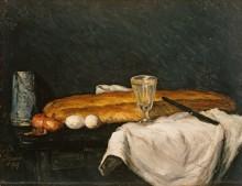 Натюрморт с багетом и яйцами - Сезанн, Поль