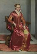 Портрет дамы в красном (возможно Лючия Альбани Авогадро) - Морони, Джованни Баттиста