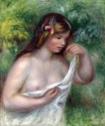 Девушка, снимающая блузу (Луиза Бенель перед купанием) - Ренуар, Пьер Огюст