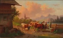 Пастухи с коровами у кормушки - Новай, Адольф