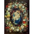 Мадонна с Младенцем и двумя ангелами в обрамлении гирлянды из цветов - Брейгель, Ян (Старший)