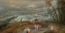 Холмистый валлонский пейзаж с путниками - Брейгель, Ян (младший)