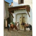 Раб с лошадьми (остановка в пути) - Жером, Жан-Леон