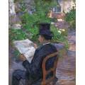 Дезире Дио, читающий газету в саду - Тулуз-Лотрек, Анри де