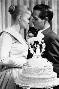 Джоанн Вудворд и Пол Ньюман в день своей свадьбы