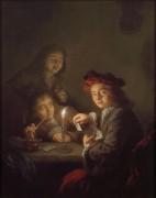 Интерьер при свете свечи с  мальчиками и  игральными картами - Бунен, Арнольд
