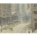 Вид улицы Броуд, Нью-Йоркской фондовой бирже и казначейства здания на расстоянии -  Уиггинс, Гай Кэрлтон