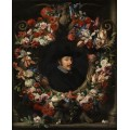 Портрет мужчины в картуше, обрамленный цветочной гирляндой - Брейгель, Абрахам