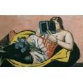 Лежащая женщина с книгой и ирисами - Бекман, Макс