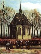 Прихожане покидающие реформатскую церковь в Нюэнене (Chapel at Nuenen), 1884 - Гог, Винсент ван