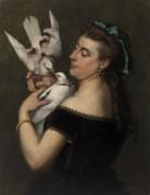 Женщина с голубями - Курбе, Гюстав