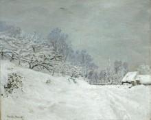 Пейзаж в окрестностях Онфлёра, снег - Моне, Клод