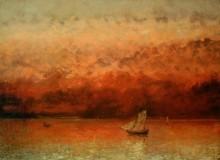 Закат над Женевским озером - Курбе, Гюстав