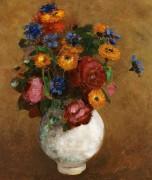 Букет цветов в белой вазе - Редон, Одилон
