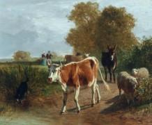 Пейзаж с коровами, овцами и осликом - Труайон, Констан
