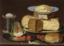 Натюрморт с сырами, артишоком и вишнями - Петерс, Клара