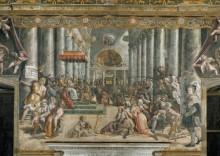 Зал Константина: Пожертвование императора Константина - Рафаэль, Санти