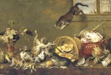 Драка котов в кладовке, 1650 - Вос, Корнелис де