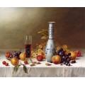 Натюрморт с вазой Делфт, красным вином и фруктами на скатерти - Ходриэн, Рой