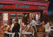 Терраса кафе с курящими посетителями - Борелли, Гвидо (20 век)